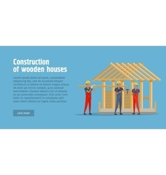 Construction of Wooden House Web Banner vector image vector image