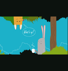 cute banner with rabbit vector image