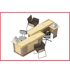 Office furniture workspace isometric flat vector image vector image