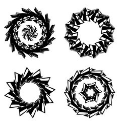 Round frames or circle black and white vector