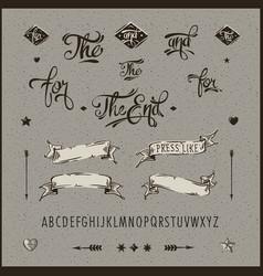 Set of vintage hipster ribbon arrow alphabet vector image vector image