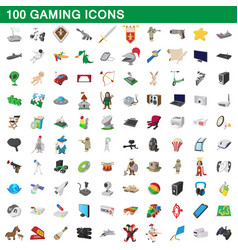 100 gaming icons set cartoon style vector image vector image