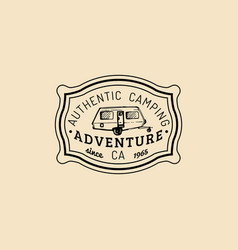 Authentic camp logotourist sign with hand vector