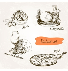 Italian set vector image vector image