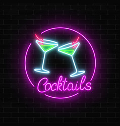 neon cocktails bar sign on dark brick wall vector image vector image