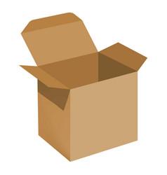 opened brown carton box mockup realistic style vector image