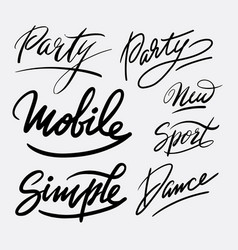 Party and dance hand written typography vector