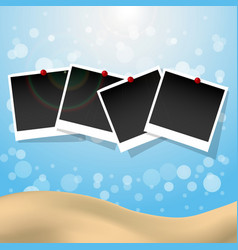 Photo frames with push pins summer presentation vector image vector image