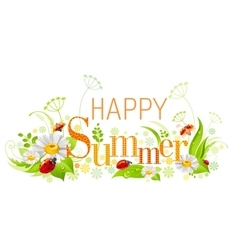 Summer floral background with beautiful swirls vector image