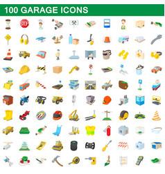 100 garage icons set cartoon style vector image vector image