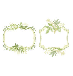 frame set with green plant leaves ornament vector image vector image