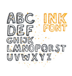 ink drawn font vector image