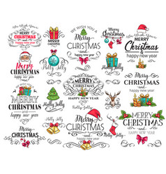 merry christmas typography set vector image vector image