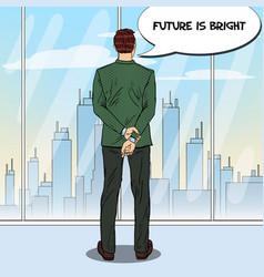 pop art businessman looking at city vector image vector image