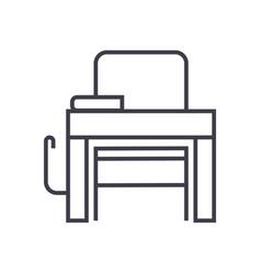 school desk line icon sign vector image