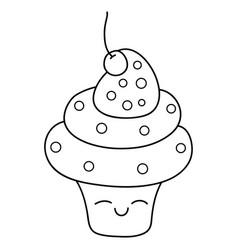 A children coloring bookpage a kawaii cupcake vector