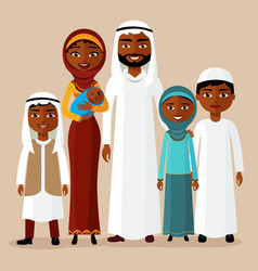 arab family muslim arab people saudi cartoon man vector image