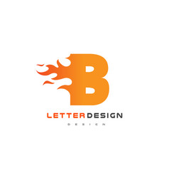 B letter flame logo design fire logo lettering vector