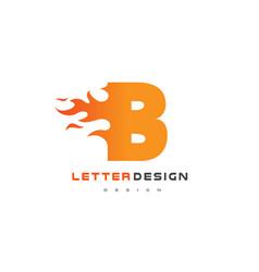 b letter flame logo design fire logo lettering vector image