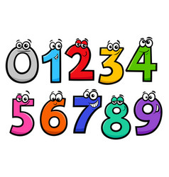 basic numbers cartoon characters set vector image