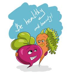 be healthy and beauty slogan health food vector image