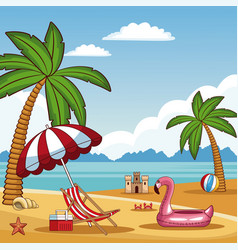 beautiful summer beach vector image