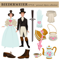 Biedermeier old german austrian clothes vector