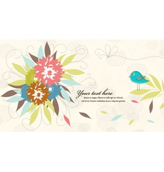 Bird with floral vector