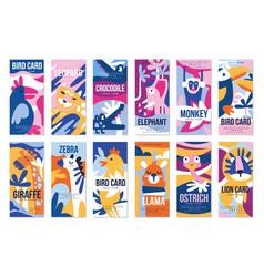 birds and animals poster set design element vector image