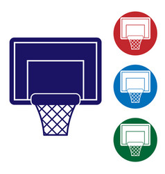 Blue basketball backboard icon isolated on white vector