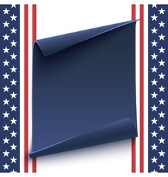 blue curved paper banner on top american vector image
