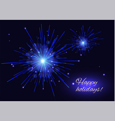 blue fireworks holidays background copy space vector image