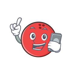 Bowling ball character cartoon with phone vector