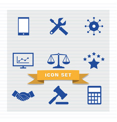 business icon set flat style vector image