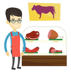 Butcher offering fresh meat in butchershop vector