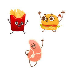 Cartoon fastfood characters set isolated vector