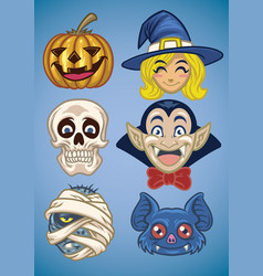 cartoon halloween characters set vector image