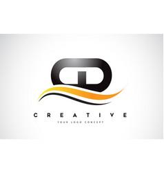Cd c d swoosh letter logo design with modern vector