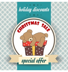 Christmas sale design with teddy bear vector image