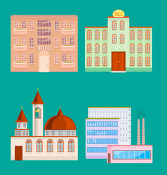City public buildings houses flat design office vector