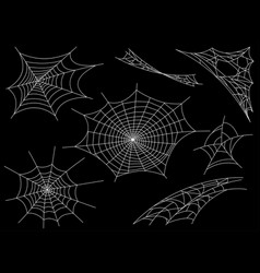 collection of cobweb isolated on black vector image
