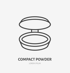Compact powder flat line icon makeup beauty care vector