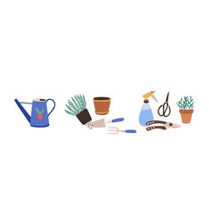 Composition with gardening tools isolated on white vector