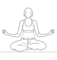continuous line art drawing woman meditating vector image