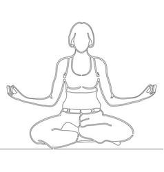 Continuous line art drawing woman meditating vector
