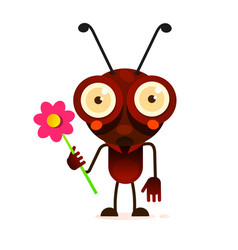 Cute ant stands on two paws and waves his hand vector