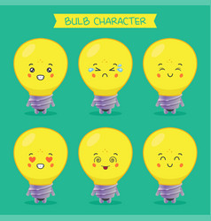 cute bulb characters with various expression vector image