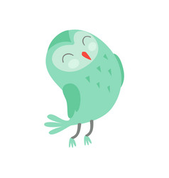 Cute funny cartoon green owlet bird character with vector