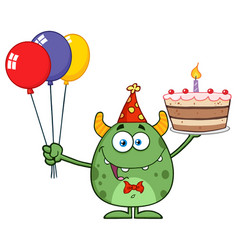 Cute green monster holding up a colorful balloons vector