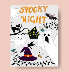 cute spooky night halloween seasonal vector image